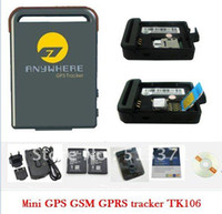 Wholesale small portable dog gps tracker TK106 locate and monitor any remote targets by SMS or gprs at the sa