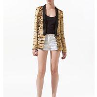 Women suit coat Formal Western style Fashion ladies business Leopard suit black collar Tiger grain printed women suits