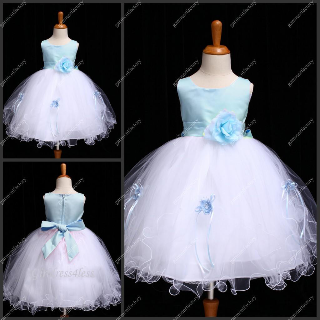 Real Sample Jewel Neckine Kids Gown Blue And White Wedding Flower ...