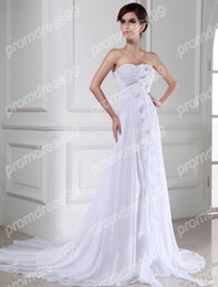 Wholesale Best Selling Sweetheart Handmade Flower Beach Style A line White Chiffon Wedding Dress