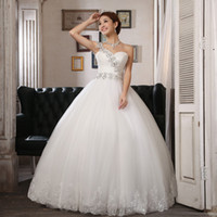 Wholesale Modest White One Shoulder Tulle Crystal Corset Ball Gown Floor Length Wedding Dresses Bridal Gowns