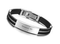 Wholesale Religious men s jewelry L titanium stainless steel cross clasp bracelet silicon men bracelet