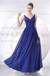 New Arrival Royal Blue V-neck A-line Floor Length Chiffon Bridesmaid Dress BD050