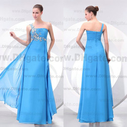 New Arrival 2015 A-line One Shoulder Crystals Zipper Back Floor Length Chiffon Bridesmaid Dress BD053