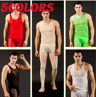 Wholesale Fashion lingerie Colors Sexy Mesh Men s Long Johns Thermal Set Thermal Underwear Pants Size M L