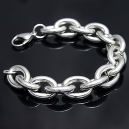 Free ship!strong men's High polished Stainless steel 15mm huge heavy oval chain bangle Bracelet 9''