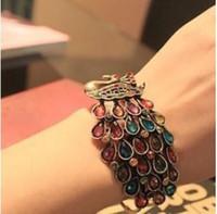 achat en gros de paon pierres précieuses-Bracelets de paon nouveaux Vintage rétro beaux Bracelets de pierres précieuses de couleur de luxe de paon 6 pcs / lot 10