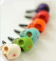Wholesale Earphone Jack Plugs punk skull Dust ear Cap Plug Anti dust of cell phone