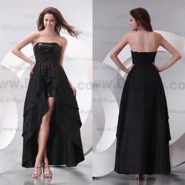 2015 New Arrival Strapless Hi-Lo Stunning Black Chiffon Bridesmaid Dress Cocktail Dress BD065