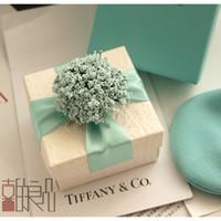 Wholesale European Style New Wedding Candy Box With Silk Ribbon Wraps Flowers Wedding Favors Green