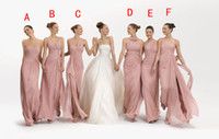 Wholesale 2013 Blush Column Chiffon Bridesmaid Dress Mixed Styles For One Wedding Party BY137