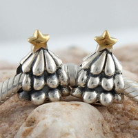 Wholesale Beads Charms Christmas tree Authentic Sexy Sterling silver amp K Gold Plated Jewelry DIY FS048