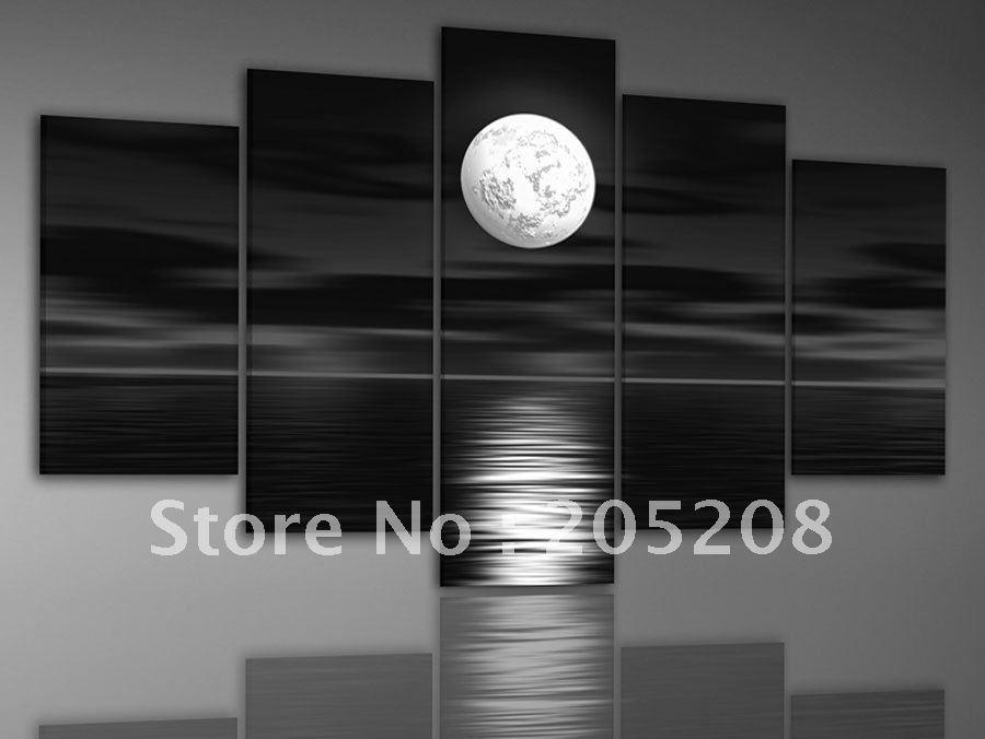 2017 framed 5 panels large black and white wall art beach for Black and white wall art