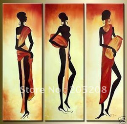 Framed 3 Panels Canvas Art African Art Paintings Wall Decor for Living Room Decoration--XD00206