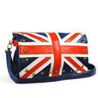 Wholesale Fashion UK Flag Bag Ladies Union Jack Bag Round Rivet Studded Flap Mini Shoulder Bags Blue