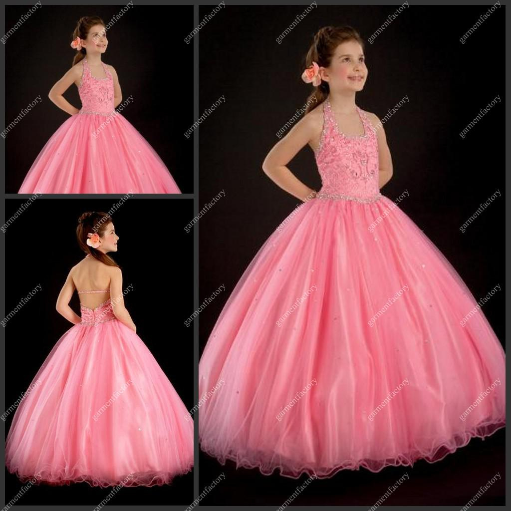 Hater Neckline Ball Gown Long Pink Organza Beaded Little Girls ...