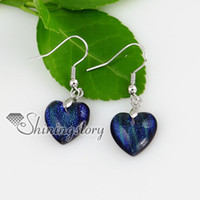 Wholesale heart valentine s day love fancy color dichroic foil fused handmade glass dangle earrings Mue022 fashion jewelry