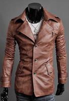 Wholesale Men leather jackets fashion washed skin single breasted silm men leather jackets coat