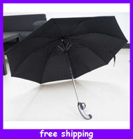 Wholesale Creative Cool Mini Atlantic Gun Handle Black Folding Umbrella Auto Release