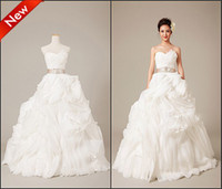 Wholesale Fashion A line Sweetheart Layers Beads Ribbon Bows Bandage Organza Ball Gown Wedding Dresses