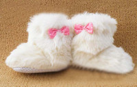 Girl boots baby fur - Bowknot Boots Baby Winter Soft Fur Boots First Walking Shoes Infant Footwear Toddler Casual Shoes