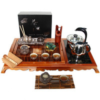 Wholesale Gray tea set Cedar red accord tea tray Automatic water induction cooker crude pottery tea set suits