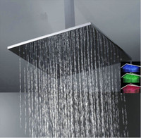 Wholesale 16 quot chrome Square Color LED Series Rain Shower Head fg506