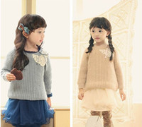 Wholesale Phelfish Girl Sweater Applique On Front Girl Coat Children Clothing Blue Apricot