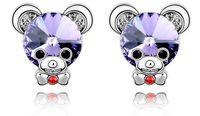 Women's baby earrings bear - earrings Crystal elements Baby Bear Earrings