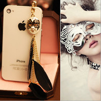 Wholesale Pack of Barroque Style Mask amp Feathers Phone Earphone Jack Dustproof Plug for iPhone amp Smartphone