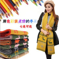 Wholesale 2Pcs Korean Winter Snowflake Two Couples Fawn Jacquard Wool Knit Double Thick Scarf