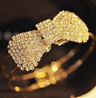 Alloy Other  New High Quality Jewelry Gold Plated Crystal Bow Bowknot Bracelet Bangle 5089