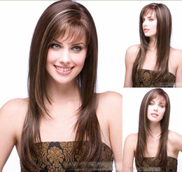Wholesale New Sexy women s long brown human made hair wig wigs