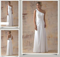Reference Images White One-Shoulder Sheath Grecian One Shoulder Wide Rouched Sash Floor Length Chiffon Corset Wedding Dresses V2150sn