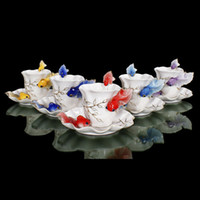 Wholesale Promotioin New Color Ceramic Goldfish Coffee Cup Saucer Spoon Expresso Cup Set