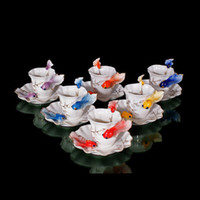 Wholesale New Colors Goldfish Expresso Coffee Set Tea Mate Cup Saucer Mocha Mug Plate