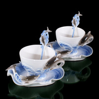 Wholesale 2pcs New Dolphin Porpoise Coffee Bean Mate Set Expresso Tea Cup Saucer Mocha Mug