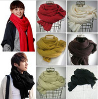 Wholesale 2012 Hot Warm lovers scarf men women Acrylic Pashmina pure color candy color super long shawl