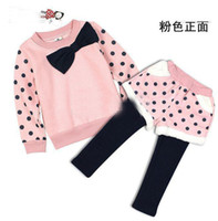 Christmas Girl 2-7 year old  Baby girl's long-sleeved polka dotted coat T-shirt +skirt pants baby fleece casual suit 2pieces set