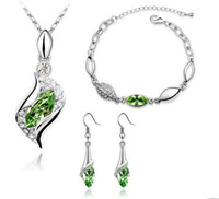Wholesale White Gold Plated Angel Eyes Necklace Crystal Necklace earrings Bracelet jewelry set