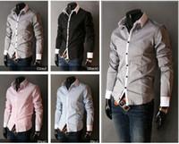 Wholesale Men s Dress Shirts Cotton Blend Long Sleeve Pink Blue Grey Black White M XXL New Luxury Stylish Slim Fit YS906