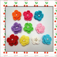 beaded applique wholesale - Beaded Crochet D layers Flower Brooch Craft Baby Headband Applique Hand made knitting