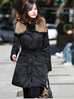 Wholesale Women s Luxury Mink Fur Long Sleeve Warm Black Coat Winter Parkas yn050