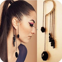 Wholesale Punk Style Cartilage Cuffs Earrings Womens Black Crystal Beads Ear Cuff Earring Jewelry Colors Mix