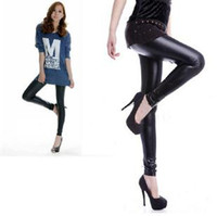Women Skinny,Slim Basic Style Leggings Nine Points Of The Thin Section Of Matte High Waist Fashion Faux Leather Trousers 5 Piece