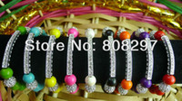 Wholesale DIY Mix Color Charm Turquoise Beads Honesty Sideways Rhinestone Plating Silver Bar Bracelet