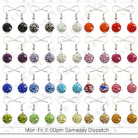 Wholesale Premium Silver Drop Earrings mm Czech Crystal Disco Clay Balls pair