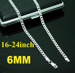 Fashion jewelry 925 Silver 6mm Flat Curb Chains Men's Necklace 18inch-24inch 4 Choices Mixed 40pcs