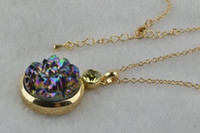 Wholesale Fashion Jewelry Pendent Necklace Druzy Stone Crystal Flower Pendent Gold Chains Necklace Free Ship
