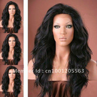 Wholesale Human hair Indian Remy Lace Front Wig Baby Hair b off black Discount ON SALE Fashion